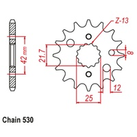 Sprocket Front Std 13T for 530# Chain