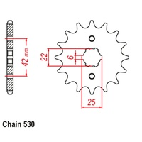Sprocket Front Std 14T for 530# Chain