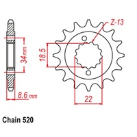 Sprocket Front Std 14T for 520# Chain