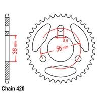 Sprocket Rear Std 28T for 420# Chain